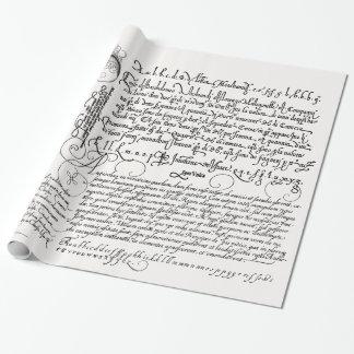 Italienische Handschrifts-Kalligraphie-Vintage Geschenkpapierrolle