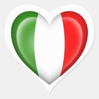 Italienische Herz-Flagge auf Weiß Herz Aufkleber