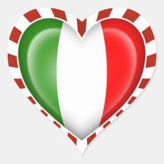 Italienische Herz-Flagge mit Stern-Explosion Herz Aufkleber