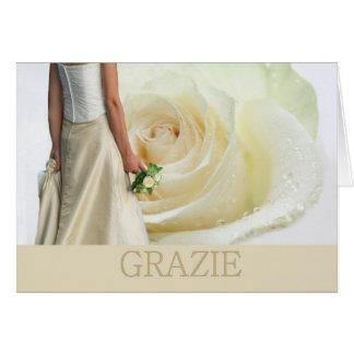 Italienische Hochzeit danken Ihnen weiße Rose und  Grußkarte