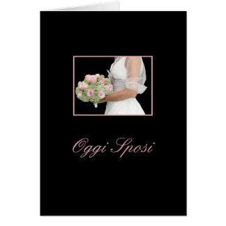 italienische Hochzeitseinladungsbraut mit Blumenst Grußkarte