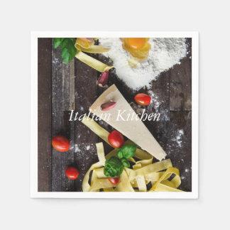 Italienische Küchen-Nahrung personifizieren Text Papierserviette