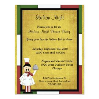 Italienische Nachtabendessen-Party Einladung