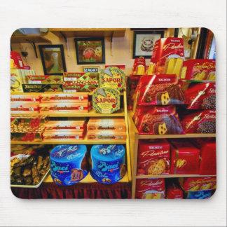 Italienische Nahrungsmittel u. Süßigkeiten an Mauspad