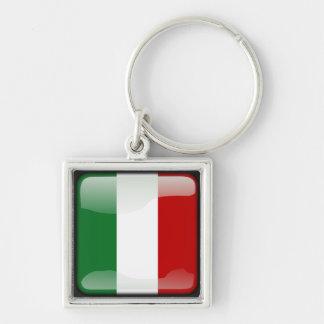 Italienische Polierflagge Silberfarbener Quadratischer Schlüsselanhänger