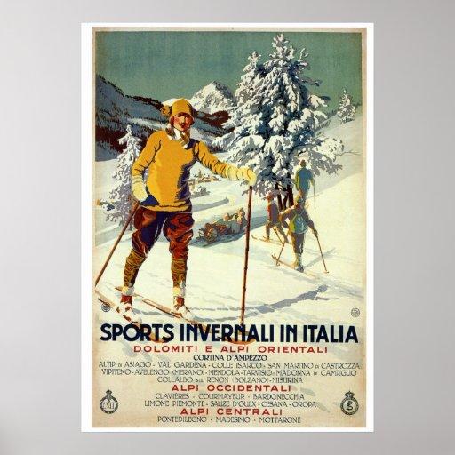 Italienische Reise der Vintagen Zwanzigerjahre Win Plakatdruck