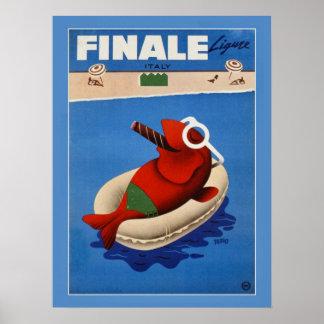 Italienische Reiseanzeige der Vintagen retro Posterdrucke