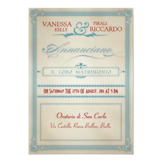 Italienische rote weiße u. blaue 12,7 x 17,8 cm einladungskarte