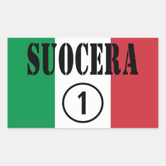 Italienische Schwiegermütter: Suocera Numero UNO Rechteckiger Aufkleber