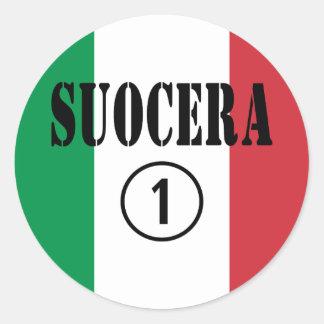 Italienische Schwiegermütter: Suocera Numero UNO Runder Aufkleber