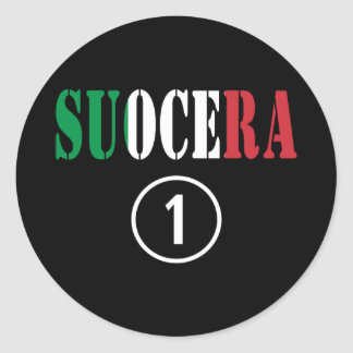 Italienische Schwiegermütter: Suocera Numero UNO Runde Aufkleber