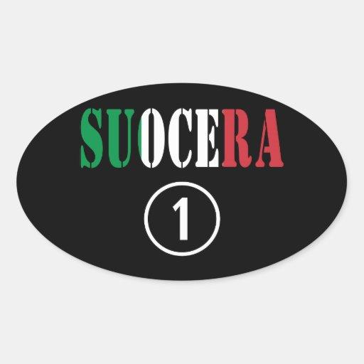 Italienische Schwiegermütter: Suocera Numero UNO Ovale Aufkleber