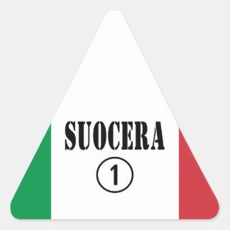 Italienische Schwiegermütter: Suocera Numero UNO Dreiecks-Aufkleber