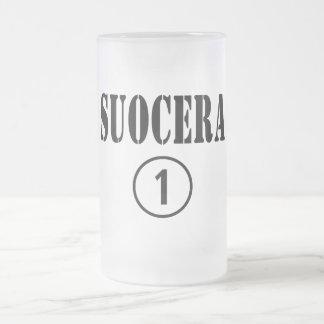 Italienische Schwiegermütter: Suocera Numero UNO Matte Glastasse