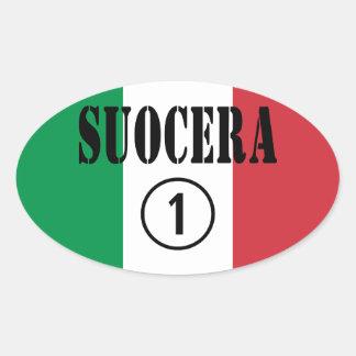 Italienische Schwiegermütter: Suocera Numero UNO Ovaler Aufkleber