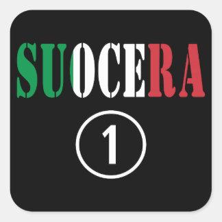 Italienische Schwiegermütter: Suocera Numero UNO Quadrat-Aufkleber