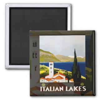 Italienische See-Vintages Reise-Plakat Quadratischer Magnet