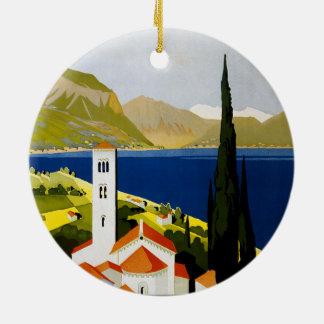 Italienische See-Vintages Reise-Plakat Rundes Keramik Ornament