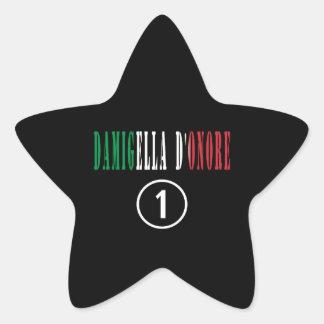 Italienische Trauzeuginnen: Damigella D'Onore Stern-Aufkleber
