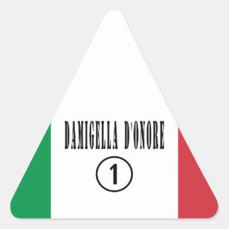 Italienische Trauzeuginnen: Damigella D'Onore Dreiecks-Aufkleber