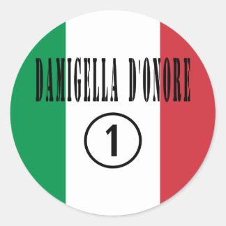 Italienische Trauzeuginnen: Damigella D'Onore Runder Aufkleber