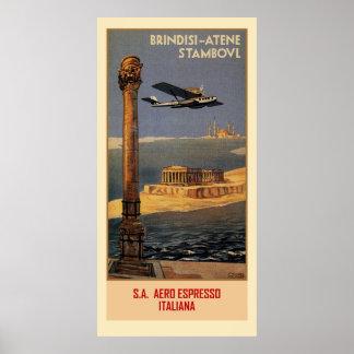 Italienische Vintage Flugzeugreiseanzeige Brindisi Poster