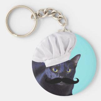 Italienischer Koch, schwarze Katze Standard Runder Schlüsselanhänger
