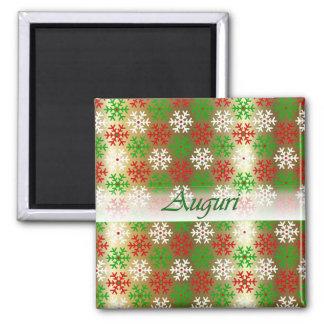 Italienischer Weihnachtsschnee blättert grüner Quadratischer Magnet