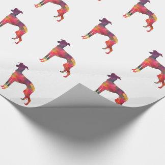 Italienischer Windhund Geo Muster-Silhouette - Geschenkpapier