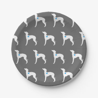 Italienischer Windhund-Platte mit blauem Herzen Pappteller