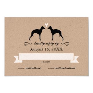 Italienischer Windhund-Silhouetten, die Antwort 8,9 X 12,7 Cm Einladungskarte