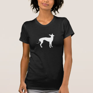 Italienischer Windhund-Weiß auf Schwarzem T-Shirt