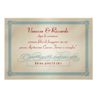 Italienisches rotes weißes u blaues DIY Hochzeit Ankündigungskarte