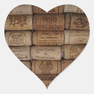 Italienisches Wein-Korken-Sammlungs-Herz-geformter Herz-Aufkleber