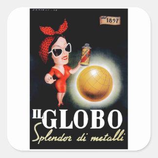 Italienisches Werbungs-Plakat 1949 IL Globo Quadratischer Aufkleber