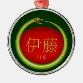 Ito Monogramm-Schlange Silbernes Ornament