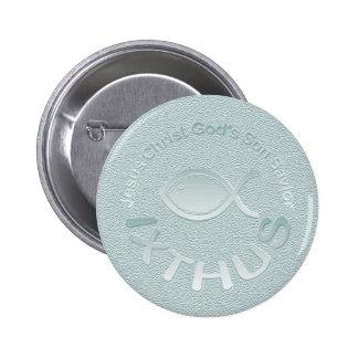 IXTHUS christliches Fisch-Symbol - SILBER Runder Button 5,7 Cm