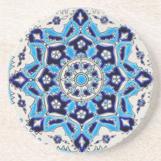 İznik blaue und weiße Blumen-Keramikfliese Untersetzer