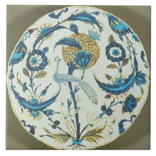 Iznik Teller, der mit einem Pfau gemalt wurde, hoc Keramikfliese