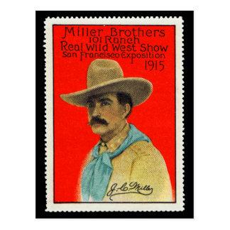 J.C. Miller der 101 Ranch-Plakat-Briefmarken-Karte Postkarte