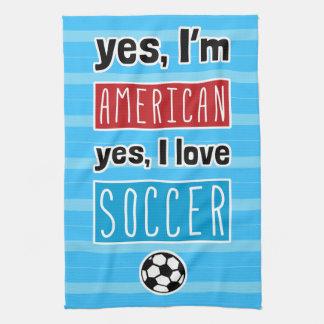 Ja bin ich, ja ich Liebe-Fußball-Tee-Tuch Handtuch