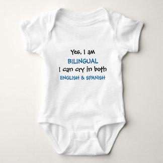 Ja bin ich zweisprachiger lustiger Baby-Bodysuit Baby Strampler