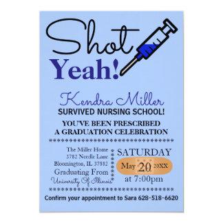 Ja geschossen! Blauer Krankenpflege-SchulAbschluss 12,7 X 17,8 Cm Einladungskarte