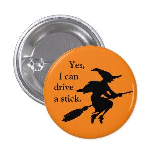 Ja kann ich eine Stock-Fliegen-Hexe-Silhouette Runder Button 3,2 Cm