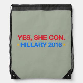 ja legt sie herein. Hillary 2016 Turnbeutel