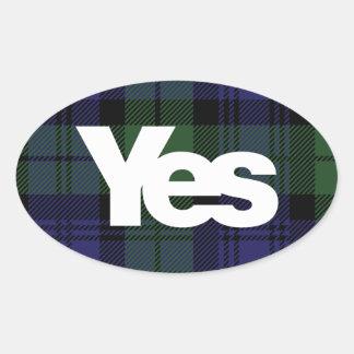 Ja schottischer Unabhängigkeitsaufkleber 2014 Ovaler Aufkleber