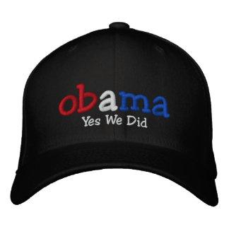 Ja taten wir Barack Obama gestickten Hut