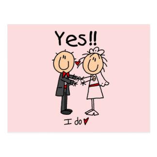 JA tue ich Braut und Bräutigam-T - Shirts und Postkarte
