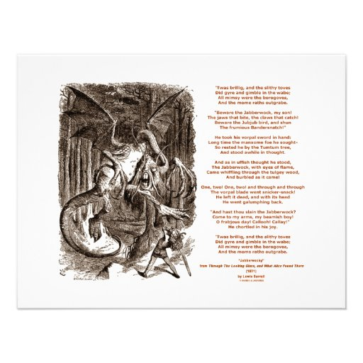 Jabberwocky Gedicht durch Lewis Carroll Personalisierte Ankündigung