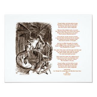 Jabberwocky Gedicht durch Lewis Carroll 10,8 X 14 Cm Einladungskarte